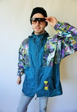 Vintage Windbreaker Raincoat Sports Jacket with Hood Parka