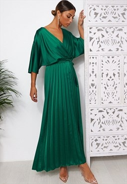 Green Cape Sleeve Satin Maxi Dress