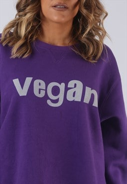 Vintage VEGAN Sweatshirt Oversized Print UK 18 (HL2J)
