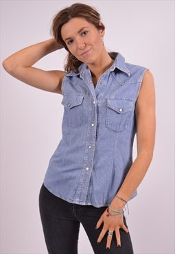 Vintage Replay Denim Shirt Sleeveless Blue