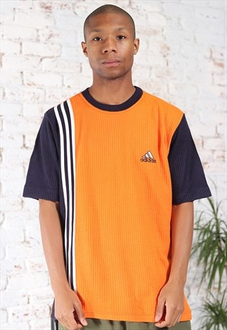 Vintage Adidas Embroidered Logo T-Shirt Orange