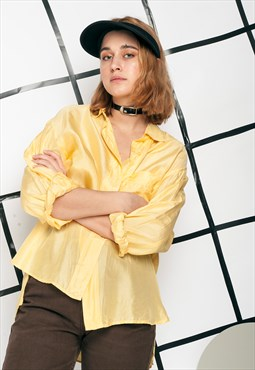 90s vintage silk shirt in yellow