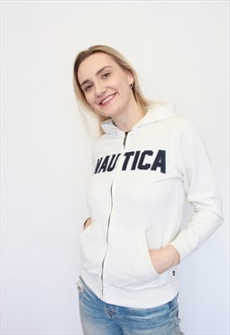 Vintage 90s Nautica White Zip Through Hoodie