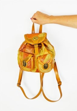 Tan Suede Patchwork BackPack Bag