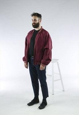 Silk Bomber Jacket /Long Sleeve Burgundy Jacket