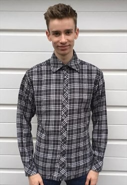 Mens Burberry shirt white black checked long sleeve top
