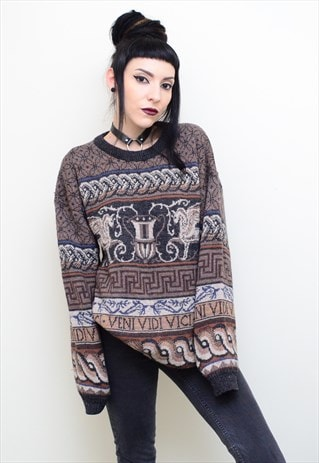 VINTAGE 90' ROMAN PATTERNED CHUNKY KNITTED WINTER JUMPER
