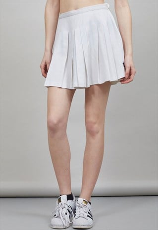 VINTAGE 80'S HIGH WAISTED OFF-WHITE PLEATED TENNIS SKIRT