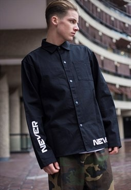Demos Black Never Give In cotton twill shirt