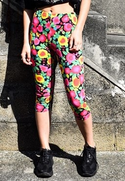 Vintage 90s Bright Floral Print Crop Leggings