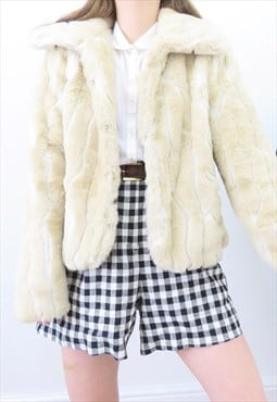 70s Vintage Cream Faux Fur Cropped Jacket