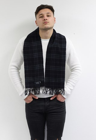 VINTAGE CASHMERE CHECKED SCARF BLACK-AS217