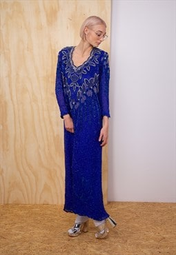 Vintage sequin dress in blue