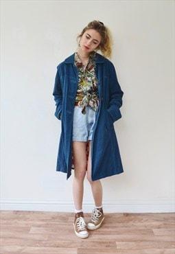 Vintage blue velvet jacket coat long festival lined
