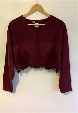 90s peach feel burgundy crop sweater