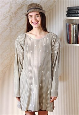 Beige pleated white dots blouse tunic