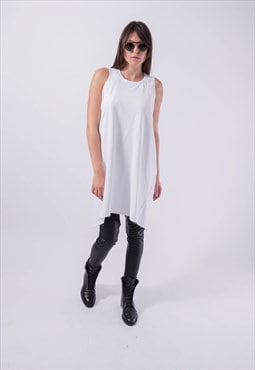 White Maxi Tunic Long Top Asymmetrical Dress Casual F1840
