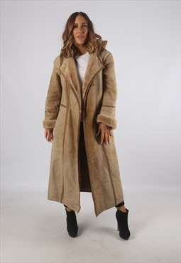 Vintage Sheepskin Suede Shearling Coat Long Hooded (93Q)