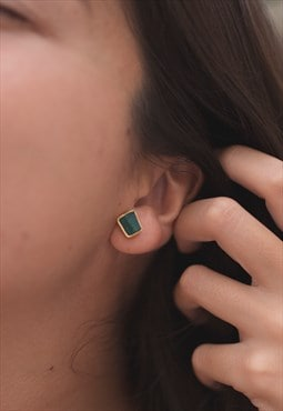 Green Onyx Gemstone Stud Small Earrings in Gold for Women