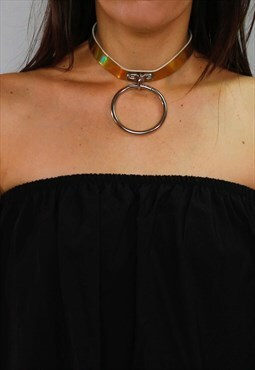 Gold Holographic big ring choker
