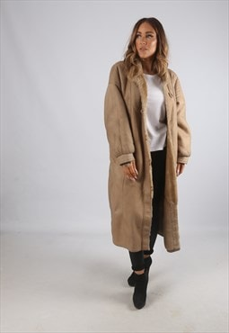 Vintage Sheepskin Suede Shearling Coat Long UK 16 (9BR)