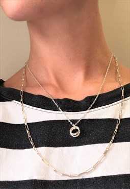 1990s Vintage Silver Plated Necklace Set