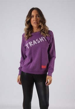 Sweatshirt Top Jumper BICH REBORN Trashy Print UK 8 (AKDQ)