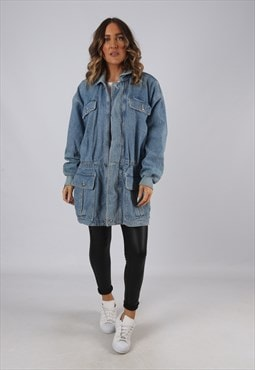 Denim Jacket Longline Oversized Long Vintage UK 12 (HKEO)