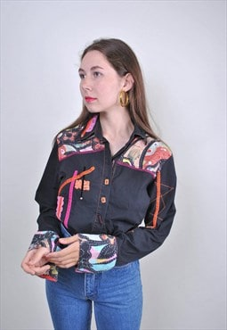 70s abstract heritage shirt, hippie black blouse embroidery