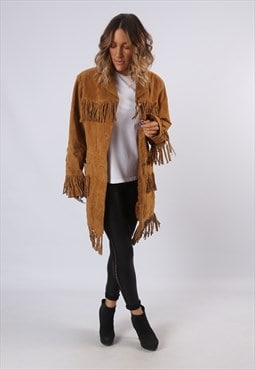Tassel Fringe Suede Leather Jacket Mid Long UK 14 (G61G)