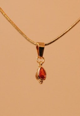 24K Gold Plated BOHEME Coral Tear Drop Choker Necklace