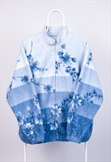 Vintage Fleece Jacket Floral Print Blue Large