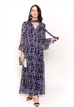 Blue floral Daisy print frilled sleeves maxi dress wedding