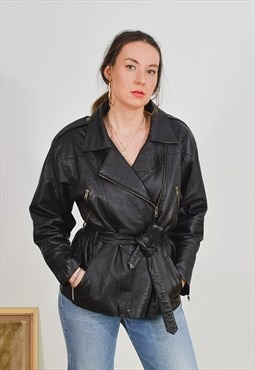 Black leather jacket Vintage 90's tied belted retro XL