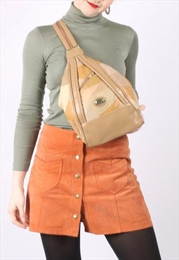 Vintage 90s Slouchy Cross Body Backpack in Beige Leather