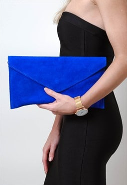 Cobalt Blue Suede Envelope Clutch Bag