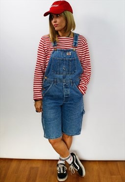 Vintage denim dungaree shorts