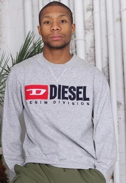 Vintage Diesel Big Embroidered Logo Sweatshirt Grey