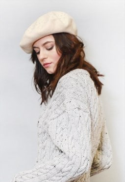 Vintage Style Soft Peach Gem Studded Wool Beret