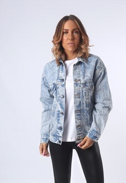 LEVIS Denim Jacket ACID WASH Fitted UK 10 (G53P)