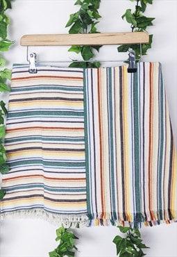 Skirt stripey rainbow colour raw edge mini summer