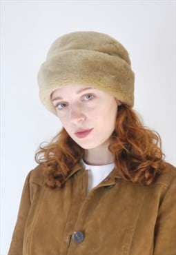Vintage 90s brown faux fur hat