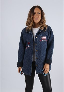 Vintage USA Denim Quilt Jacket Longline UK S 10  (J2V)