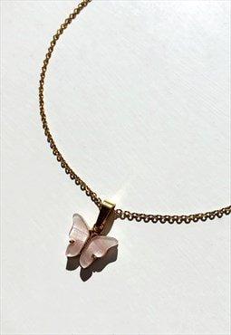 Blush Pink Butterfly Necklace
