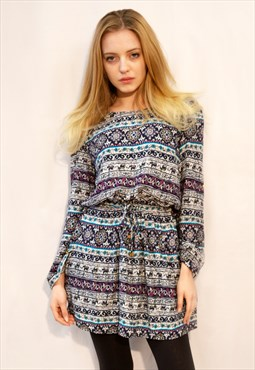 Long Sleeve Mini Dress in Floral Paisley and Elephant Print