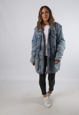 Vintage Denim Parka Jacket Acid Wash Longline UK 12 M (K93Y)