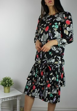 Vintage Floral Dress with Drop Waist Detail & Pleat Skirt