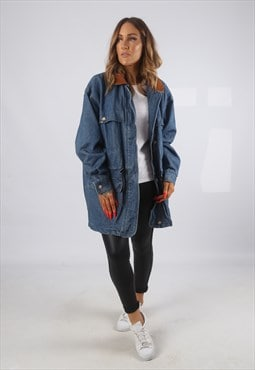 Vintage Denim Jacket Oversized Longline UK 16 XL (82V)