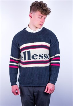 Vintage Ellesse Striped Spell Out Jumper