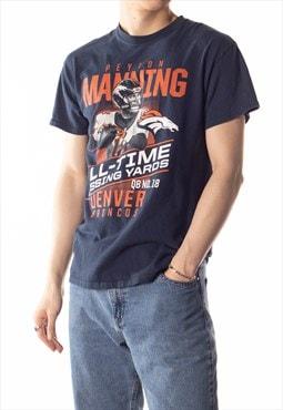 Vintage Navy Orange Peyton Broncos Crewneck Pullover T-Shirt